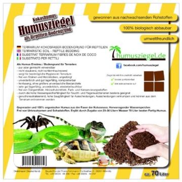 70 L Kokoseinstreu Bodengrund Terrarienerde für Reptilien - Kokoserde einfach portionierbar - MAXIBLOCK Terrarium Humusziegel Einstreu Cocoground Kokosgrund Kokoshumus Kokosziegel Kokosfaser Briketts Kokobricks -fein- - 3