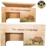 Nagerstore Schildkrötenhaus M Terrarium Schutzhaus mit Motiven, Holzlasur & Aufklappbar - 1