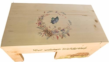 Nagerstore Schildkrötenhaus M Terrarium Schutzhaus mit Motiven, Holzlasur & Aufklappbar - 3