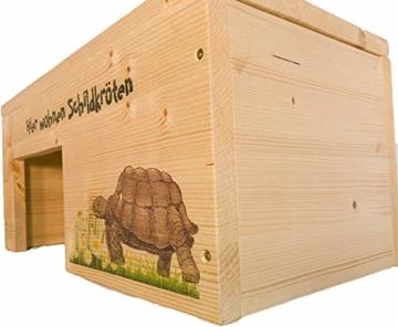 Nagerstore Schildkrötenhaus M Terrarium Schutzhaus mit Motiven, Holzlasur & Aufklappbar - 4