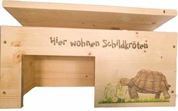 Nagerstore Schildkrötenhaus M Terrarium Schutzhaus mit Motiven, Holzlasur & Aufklappbar - 5